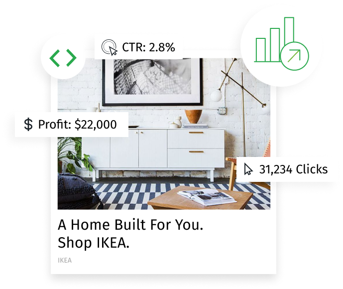 A Revcontent ad for IKEA, overlaid with some charts and figures that represent Revcontent's robust analytics capabilities.