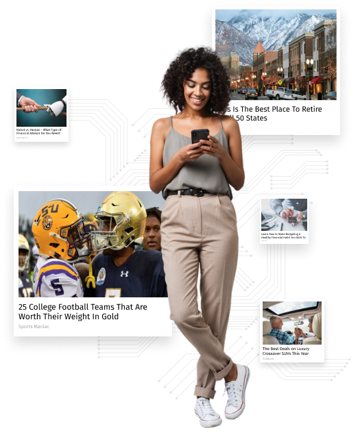 A woman stands smiling at her smart phone, surrounded by Revcontent ads